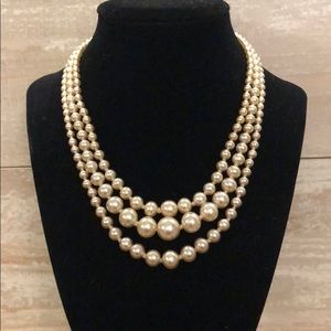 Vintage Glass pearl 3 layers necklace